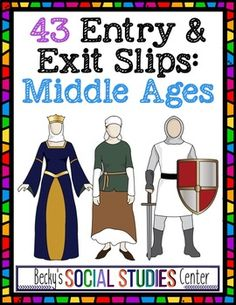 Middle Ages Entrance & Exit Slips: 43 Engaging Questions & Activities - Use this 87 page resource with your 5th, 6th, 7th, or 8th grade classroom and homeschool students. These 43 entrance and exit slips keep students engaged throughout your European or World History lessons or units on the Middle Ages. Click through to see examples! {fifth, sixth, seventh, eighth graders, upper elementary, middle school}
