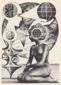 "Untitled by Yugoslavian-born artist Nikolai Lutohin Possible illustration for the science magazine ""Galaksija"" in the and via Mazzu Stardust Art Inspo, Kunst Inspo, Inspiration Art, Psychedelic Art, Illustrations, Art And Illustration, Pop Art, Bad Trip, Esoteric Art"