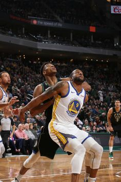 Giannis Antetokounmpo of the Milwaukee Bucks and Andre Iguodala of the Golden State Warriors fight for position during the game on December 7 2018 at. Andre Iguodala, Milwaukee Bucks, Nba Champions, Golden State Warriors, December 7, Athletic, Crushes, Basketball, Amor