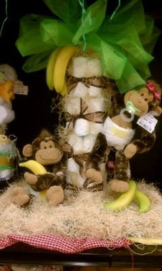 Diaper cake would be cute for monkey themed baby shower