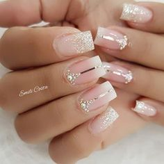 Bridal Nails Designs, Bridal Nail Art, Nail Designs, Elegant Nails, Stylish Nails, Gorgeous Nails, Pretty Nails, Pink Nails, Gel Nails