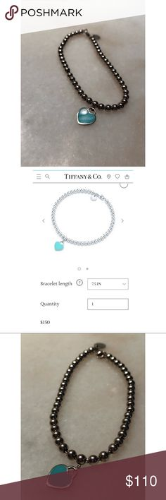 "PRICE DROP!! 🌟🌟Return to Tiffany bead bracelet💎 Authentic TIFFANY & CO. - worn once, retails $150 as shown in photos from website page. Beautiful silver beads on a bracelet chain and a small ""Tiffany"" blue heart charm 💙 perfect condition as seen in photos.   🌟 NO lowballing please! Tiffany & Co. Jewelry Bracelets"
