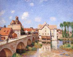 Sisley, Puente en Moret.  las vistas de un pueblo francés en todo su esplendor.