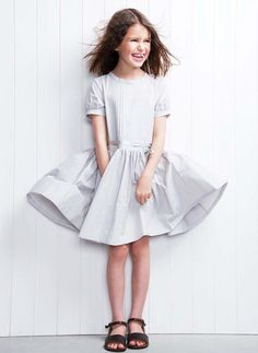 Miller London Tofino Pintuck Dress in Cement Little Girl Dresses, Girls Dresses, Moda Kids, Lilac Dress, Glamour, Girls Party Dress, Kid Styles, Pretty Outfits, Fashion Boutique