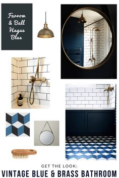 Vintage geometric bathroom interior style home decor brass-bath-tap-fittings-cube-patterned-encaustic-cement-tiles-hague-blue-bathroom