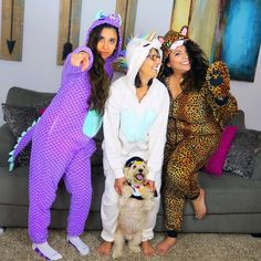 #Meow || Mom said these #onsies would be a waste of money. I say it's money well spent. #HappyHalloween from our family to yours!  || #WhatsETWearing #magicdragon #puff #unicorn #leopard #penguin #halloween #yorkiechon
