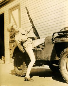 Donna Reed and a war time Jeep Old Jeep, Jeep Cj, Jeep Truck, Jeep Wrangler, Military Jeep, Military Vehicles, Military Salute, Vintage Jeep, Donna Reed