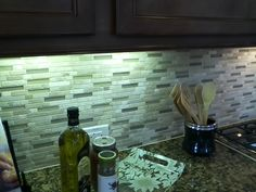 stone and glass tile backsplash