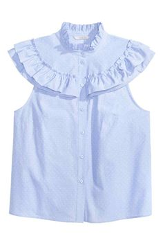 Frilled blouse: Blouse in a cotton weave with a frilled collar, frilled yoke and short frilled sleeves. Buttons down the front.