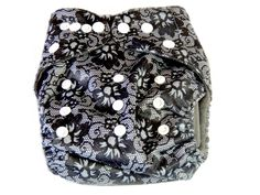 Charcoal Bamboo Cloth Pocket Diaper With Double Gussets - Black Lace