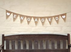 ENGAGED Hessian Burlap Wedding Celebration Engagement Party Banner Bunting Decoration white hearts white text, or red hearts. Engagement Party Favors, Engagement Celebration, Engagement Party Decorations, Wedding Engagement, Engagement Brunch, Engagement Invitations, Engagement Ideas, Text Banner, Boyfriends