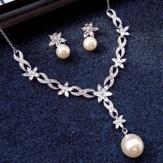 $27.06 rhinestone pearl set necklace with earrings for wedding from zzkko.com
