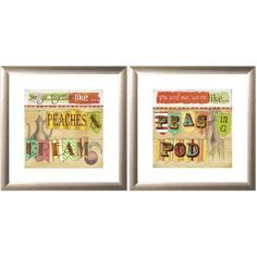 Kitchen Poetry Wall Art, 16 inch x 16 inch, Set of 2, Multicolor
