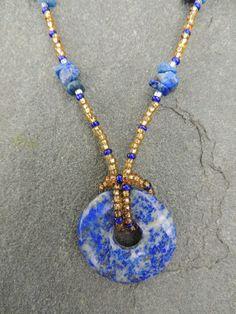 Lapis Lazuli Donut Necklace $20