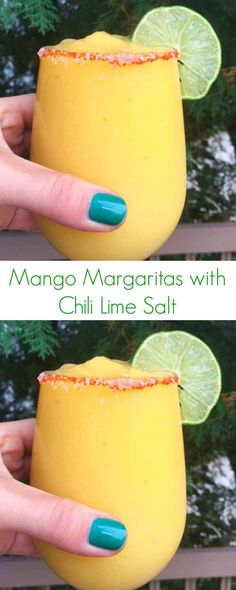 Mango Margaritas with Chili Lime Salt Recipe - The perfect combination of sweet, spicy, and tangy in a easy holiday cocktail! - The Lemon Bowl