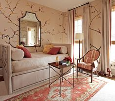 closet/guest room...guest room side. Love the wall painting.