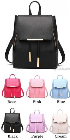 d765d2aa90b5 Elegant Pink Funky Lady Solid Simple Square PU Drawstring Hasp Satchel  Backpack only  36.99