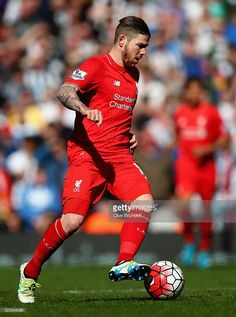 Alberto Moreno of Liverpool in action during the Barclays Premier League match between Liverpool and Newcastle United at Anfield on April 23, 2016 in Liverpool, United Kingdom.