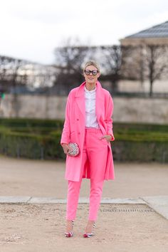 Paris Fashion Week Fall 2014 Street Style | Pink Suit