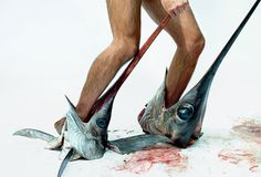 """Maurizio Cattelan - """"We had swordfish for dinner and took this picture with the leftovers."""""""