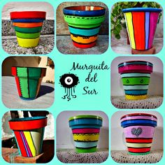 Macetas Pintadas Flower Pot Art, Clay Flower Pots, Flower Pot Crafts, Clay Pot Crafts, Clay Pots, Paint Garden Pots, Painted Plant Pots, Painted Flower Pots, Ceramic Pots