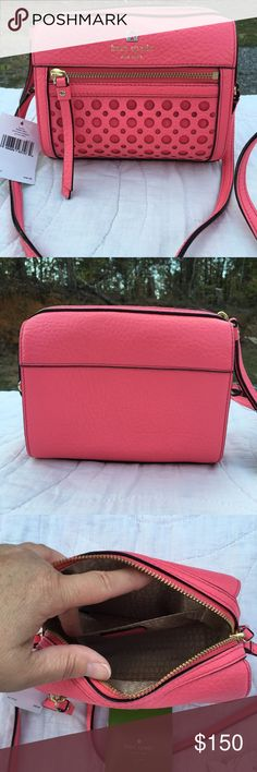 Kate Spade Peony Perri Lane Bubbles Bag NWT Beautiful bag with 1 exterior zippered pocket. 1 inside slip pocket and top zip closure. Strap is not adjustable. kate spade Bags Crossbody Bags