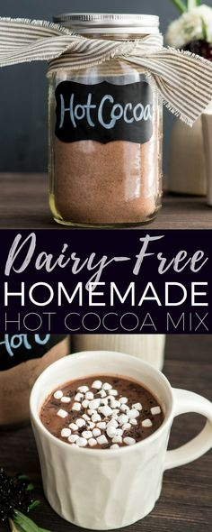 This Dairy-Free Homemade Hot Chocolate mix is a 6-ingredient, just-add-water recipe that makes the creamiest, richest vegan hot cocoa ever! It's so easy to mix up and stays fresh all winter long! #hotchocolate #homemade #hotcocoa #hotchocolatemix #recipe #recipevideo #video #dairyfree #vegan #chocolate