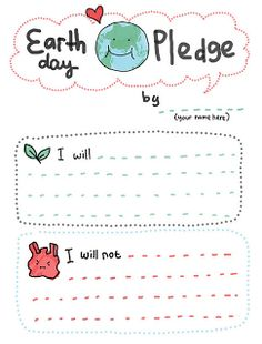 Printable Earth Day Pledge for Kids
