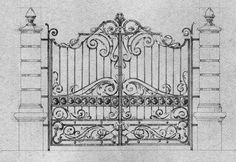 Victorian Irons, Folk Victorian, Front Gates, Entrance Gates, Metal Drawing, Home Fencing, Iron Gate Design, Compound Wall, Blacksmith Shop