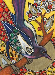"""""""Icon 5: magpie"""" corvid painting by Lynette Shelley"""