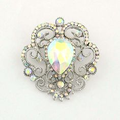 AB Rhinestone Brooch, Silver Aurora Borealis Broach, Iridescent Brooch, Aurora Borealis Wedding Brooches, AB Crystal Iridescent Broaches