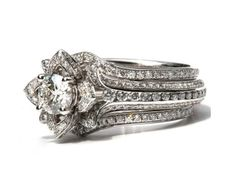 Wedding SET  Gorgeous UNIQUE Flower Rose Diamond by BeautifulPetra, $9,250.00