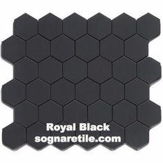 Royal Black Matte 2X2 Hexagon Mosaic (Shipping charges apply)