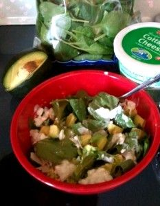 Approx 1 c. Cottage Cheese, low fat, small curd    2 oz avacado    2 cups romaine/spinach mixture    5 slices turkey meat (hillshire farms ultra thin)