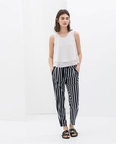Image 1 of STRIPED TROUSERS WITH LACES from Zara
