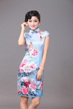 Impressive Peony Flowers Silk Cheongsam - Blue - Qipao - Cheongsam - Women