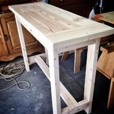 Diy Console Table From Pine Lumber Easy Plans From Ana White Concept Of Diy Console Table Plans Easy Woodworking Projects, Diy Wood Projects, Furniture Projects, Furniture Plans, Home Projects, Garden Furniture, Woodworking Plans, Woodworking Furniture, Furniture Websites