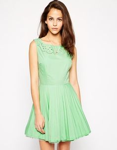 AX Paris Cutwork Dress with Pleated Skirt 532536