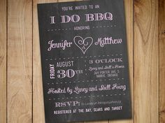 I DO BBQ Bridal Shower Invitation Template - Chalkboard Wedding Shower Template - Chalkboard Wedding Shower Invitation Download  by PaintTheDayDesigns