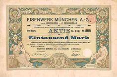 Eisenwerk München AG vorm. Kiessling - C. Moradelli Aktie 1.000 Mark März 1899 (Auflage 1500, davon 1905 246 vernichtet, R 10).
