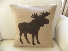 NEW  Burlap Moose pillow Cushion COVER by TheNestUK on Etsy, $28.00