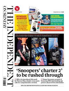 """""""Independent on Sunday via 'Snoopers' charter to be rushed through Sports Magazine, Book Art, Sunday, Politics, February 2016, Shit Happens, Twitter, Around The Worlds, Printing Press"""