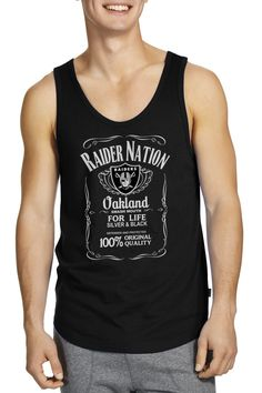 749c597a7b17fa Raider Nation Whisky Logo Oaklan Raiders Fanatic Silver and Black Black Tank  Tops Processed and printed in the U.