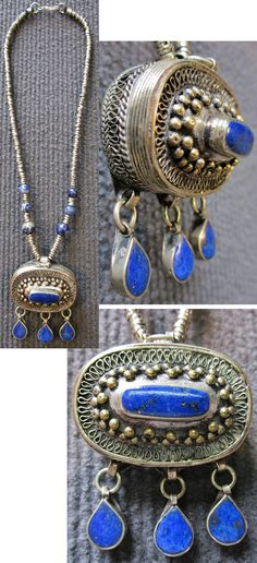 ca northern Afghanistan: amulet necklace, partly gilt silver and lapis lazuli. Features both Kazakh & Kuchi style elements. Chain L: 42 cm; pendant/box: W: 4 cm & can be opened. Tribal Jewelry, Bohemian Jewelry, Jewelry Art, Antique Jewelry, Silver Jewelry, Jewelry Design, Fashion Jewelry, Nepal, Lapis Lazuli Jewelry