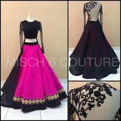 Black embroidery on sleeves a nice gold instead would make any lengha more dressy
