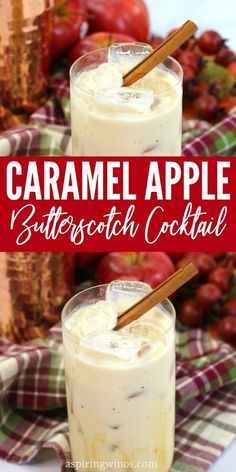 This caramel apple butterscotch cocktail is a sweet and creamy, treat balanced with tart apple and a boozy heat. Liquor Drinks, Cocktail Drinks, Fun Drinks, Yummy Drinks, Cocktail Recipes, Cocktail Movie, Cocktail Sauce, Cocktail Attire, Cocktail Shaker