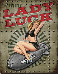 Chapa metálica decorativa Lady Luck Decoración americana www.usamericanshop.com #cartelvintage