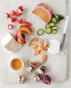 Cheese Pairings- >Peppadew Peppers, Sheep's-Milk Feta & Black Pepper >Aged Gouda & Cucumber >Cantaloupe & Goat Cheese >Fresh Figs, Gorgonzola Dolce & Honey >Nectarines, Saint Andre & Honey