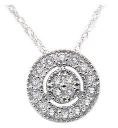 1/4ct Diamond Pave Halo Pendant 14K White Gold Womens Necklace & 18