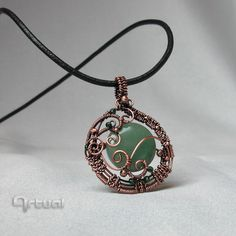 Victorian style copper wire pendant with Aventurine gemstone by Artual on Etsy